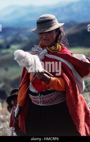 Indian woman wearing a traditional hat and dress spinning wool on a spindle, Ecuador. - Stock Photo