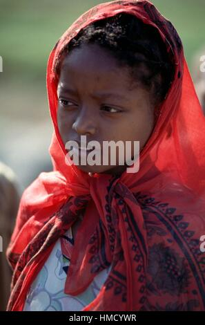 Young Dorze girl wearing a headscarf, Chencha, Arba Minch, Rift Valley, Ethiopia. - Stock Photo
