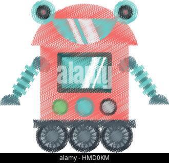drawing robot cyborg machine futuristic vector illustration eps 10 - Stock Photo
