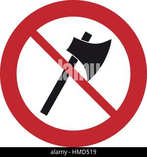 prohibited axe wooden tool weapon sign road - Stock Photo
