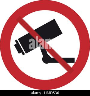 prohibited sign road camera surveillance security - Stock Photo