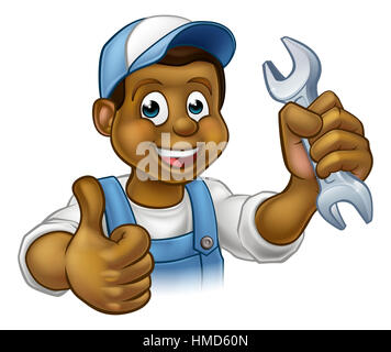 A black handyman mechanic or plumber cartoon character holding a spanner and giving a thumbs up - Stock Photo