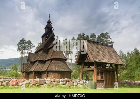 Gol Stave Church (from Gol, Hallingdal, Norway), now located in the Norwegian Museum of Cultural History at Bygdoy - Stock Photo