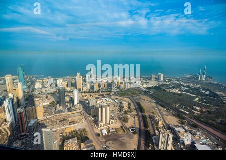Kuwait from the highest building in Kuwait Al Hamra - Stock Photo