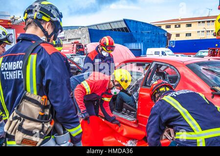 Firemen Manoeuvre in the fire station of San Cristobal de La Laguna - Stock Photo