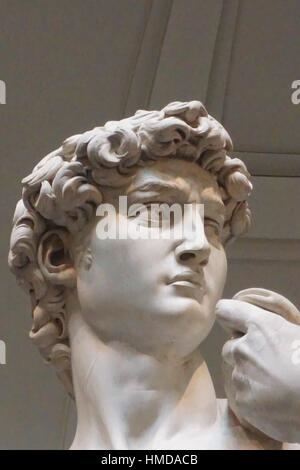 Michelangelo´s David, Head Detail, Accademia Gallery, Florence, Italy. - Stock Photo