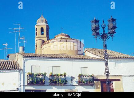 House, El Salvador church and street lamp. Ubeda, Jaen province, Andalucia, Spain. - Stock Photo