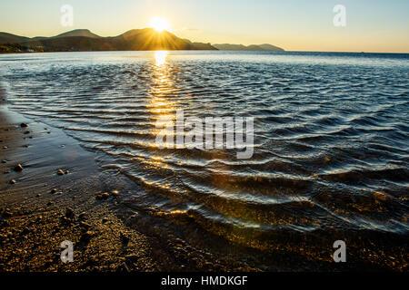mystic sunrise of sea - Stock Photo