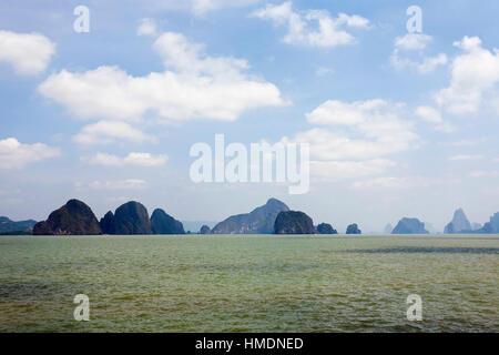 Bizarre rock in the sea, Ao Phang Nga Bay, Krabi, Phuket Province, Thailand - Stock Photo