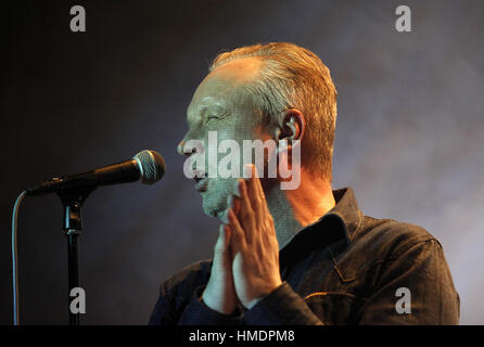 PRAGUE, CZECH REPUBLIC - DECEMBER 13, 2012: Singer Jaromir Svejdik of Priessnitz performs live during a concert - Stock Photo