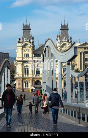 Barcelona, Rambla del Mar footbridge in Port Vell. Catalonia, Spain. - Stock Photo