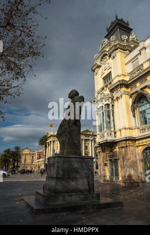 Statue of Romul Bosch I Alsina, MP and mayor, in front of the Port de Barcelona, Port Vell, Barcelona, Catalonia, - Stock Photo
