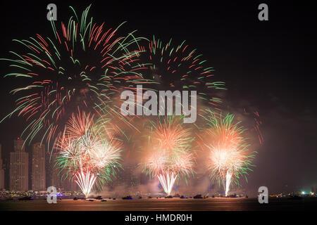 The 45th UAE National Day celebration fireworks in Dubai Marina - Stock Photo