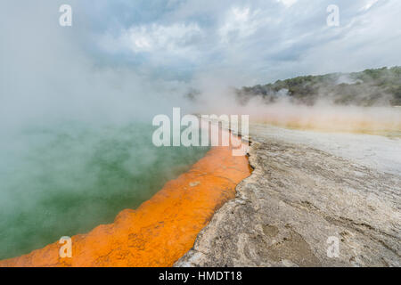 Champagne Pool, hot spring, Waiotapu Geothermal Wonderland, Rotorua, North Island, New Zealand - Stock Photo