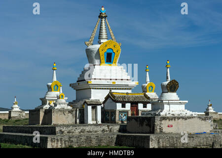 Stupa and temple, Erdene Zuu Khiid monastery, Karakorum, Kharkhorin, Övörkhangai Aimak, Mongolia - Stock Photo