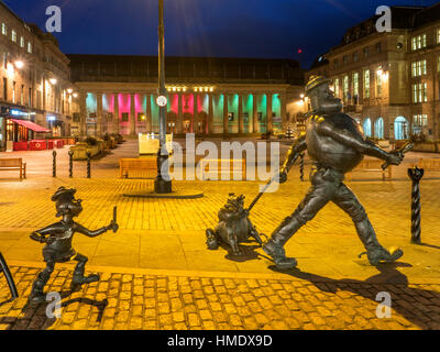 Minnie the Minx with Desperate Dan and Dawg DC Thomson Character Statues High Street Dundee Scotland - Stock Photo