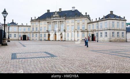 COPENHAGEN, DENMARK - SEPTEMBER 10, 2011: royal Moltke's Palace in Amalienborg of Copenhagen city in autumn day. - Stock Photo