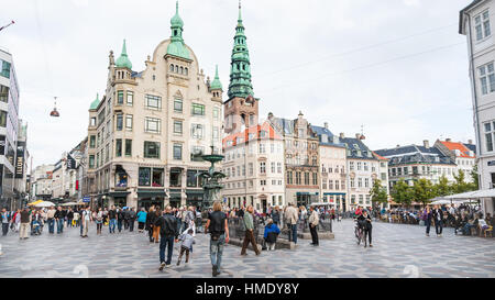 COPENHAGEN, DENMARK - SEPTEMBER 10, 2011: view of Amagertorv square in Copenhagen city. Amagertorv (Amager Square) - Stock Photo