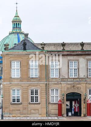 COPENHAGEN, DENMARK - SEPTEMBER 10, 2011: facade of royal Palace in Amalienborg of Copenhagen city in autumn day. - Stock Photo