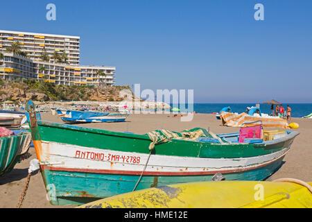 Torremolinos, Malaga Province, Costa del Sol, Spain.   View along La Carihuela beach to Castillo de Santa Clara - Stock Photo