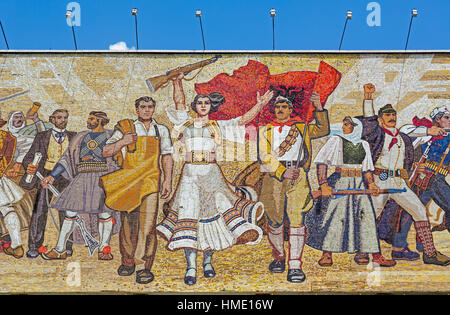 Tirana, Albania.  Mosaic above the National History Museum in Skanderbeg Square featuring Albanians at various times - Stock Photo