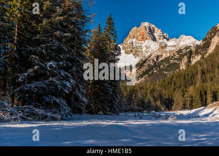 Winter view of Croda Rossa d'Ampezzo or Hohe Gaisl mountain, Dolomites, Alto Adige - South Tyrol, Italy - Stock Photo