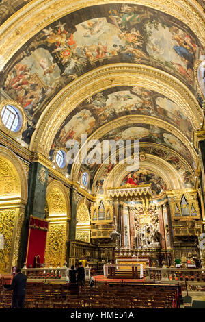Interior of St. John's Co-Cathedral, Valletta, Malta - Stock Photo