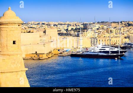 View of the Grand Harbour Valletta, Malta looking towards Birgu, Senglea and Fort Saint Angelo - Stock Photo