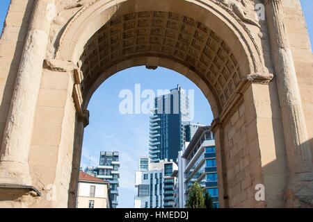 Porta Nuova, Principessa Clotilde square, Milan, Lombardy, Italy. - Stock Photo