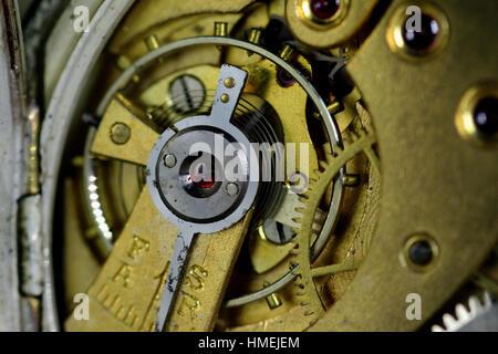 Pocket Watch showing movement - Stock Photo