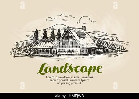Rural landscape sketch. Farm, country house, cottage vector illustration - Stock Photo