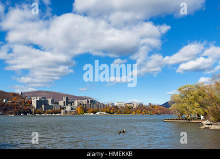 West Point Military Academy on the Hudson River. The United States Military Academy from Garrisons Landing, New - Stock Photo