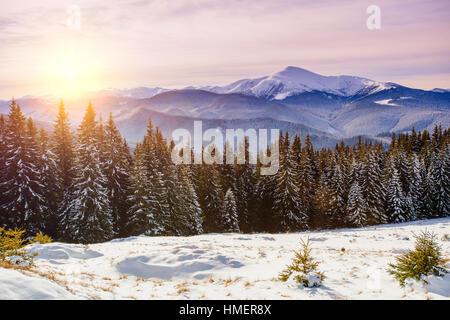 snow capped mountains - Stock Photo
