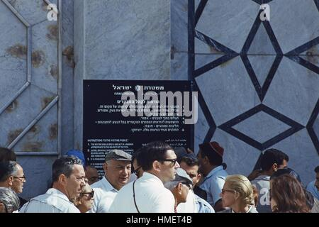 Scene of Western men and women tourists waiting to enter the Mosque atop the Temple Mount, in the Old City of Jerusalem, - Stock Photo