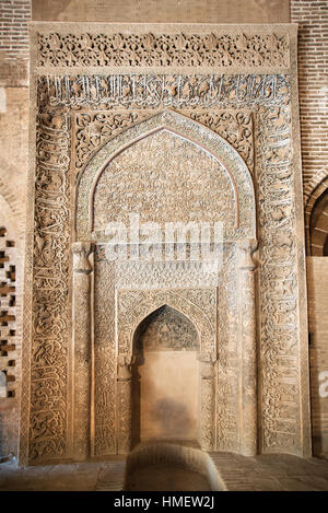 Oljeitu (Mongal) mihrab in the West Iwan of the Friday Mosque, Isfahan, Iran - Stock Photo