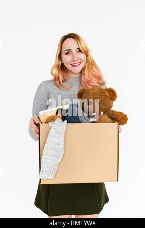 Woman Smiling Happiness Teddy Bear Portrait Concept - Stock Photo