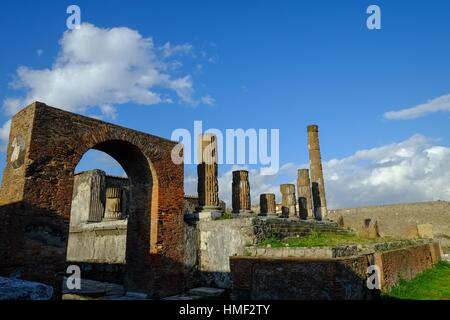 Temple of Jupiter and Honorary Arch, the Forum, Pompeii the ancient Roman town near Naples, Campania, Italy, Europe - Stock Photo