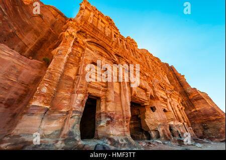 Palace Tomb (the Royal Tombs), Petra Archaeological Park (a UNESCO World Heritage Site), Petra, Jordan. - Stock Photo
