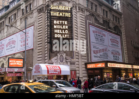 Shubert Theatre Marquee, 'Hello Dolly', Times Square, NYC - Stock Photo