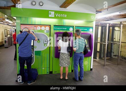 Subway ticket sales, Metro, Paris, France - Stock Photo
