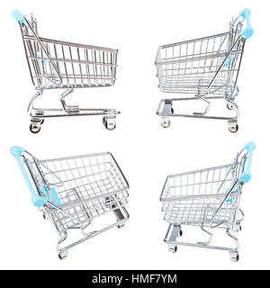 set from empty shopping carts isolated on white background - Stock Photo