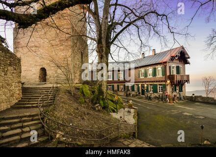 Overlooking the courtyard and the castle keep of the Yburg - Baden Baden - southern Germany. - Stock Photo