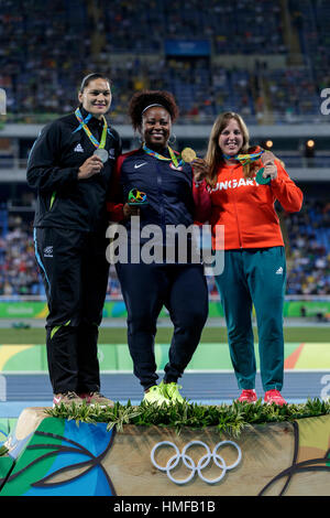 Rio de Janeiro, Brazil. 13 August 2016.  Michelle Carter (USA) gold medal winner, Valerie Adams (NZL) silver, Anita - Stock Photo