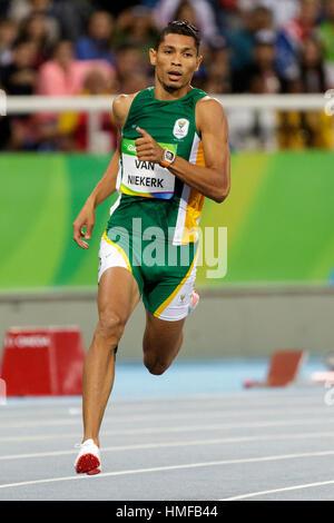 Rio de Janeiro, Brazil. 13 August 2016.  Athletics, Wayde Van Niekerk (RSA)  competing in the men's 400m semi-finals - Stock Photo