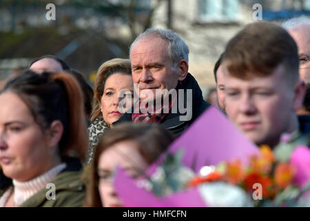 Martin McGuinness, Sinn Fein, attending the 45th Bloody Sunday memorial service in Derry, Londonderry. - Stock Photo
