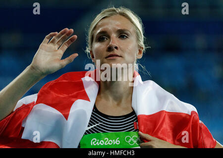 Rio de Janeiro, Brazil. 13 August 2016. Brianne Theisen Eaton (CAN) wins the bronze medal in the Heptathlon at the - Stock Photo
