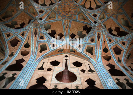 Niches on the ceilings of the Music Hall of Ali Qapu Palace, Isfahan, Iran - Stock Photo