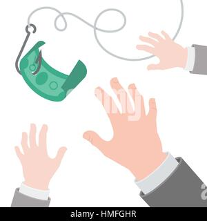 Vector flat conceptual business illustration of a dollar on the hook and human hands in suits, catching it. Greed, - Stock Photo