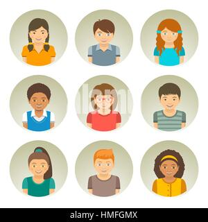 Kids of different races round flat vector avatars. Happy smiling Caucasian, African American and Asian boys and - Stock Photo