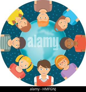 Flat vector conceptual illustration of children of different races around the Earth in front of starry sky. Childhood - Stock Photo